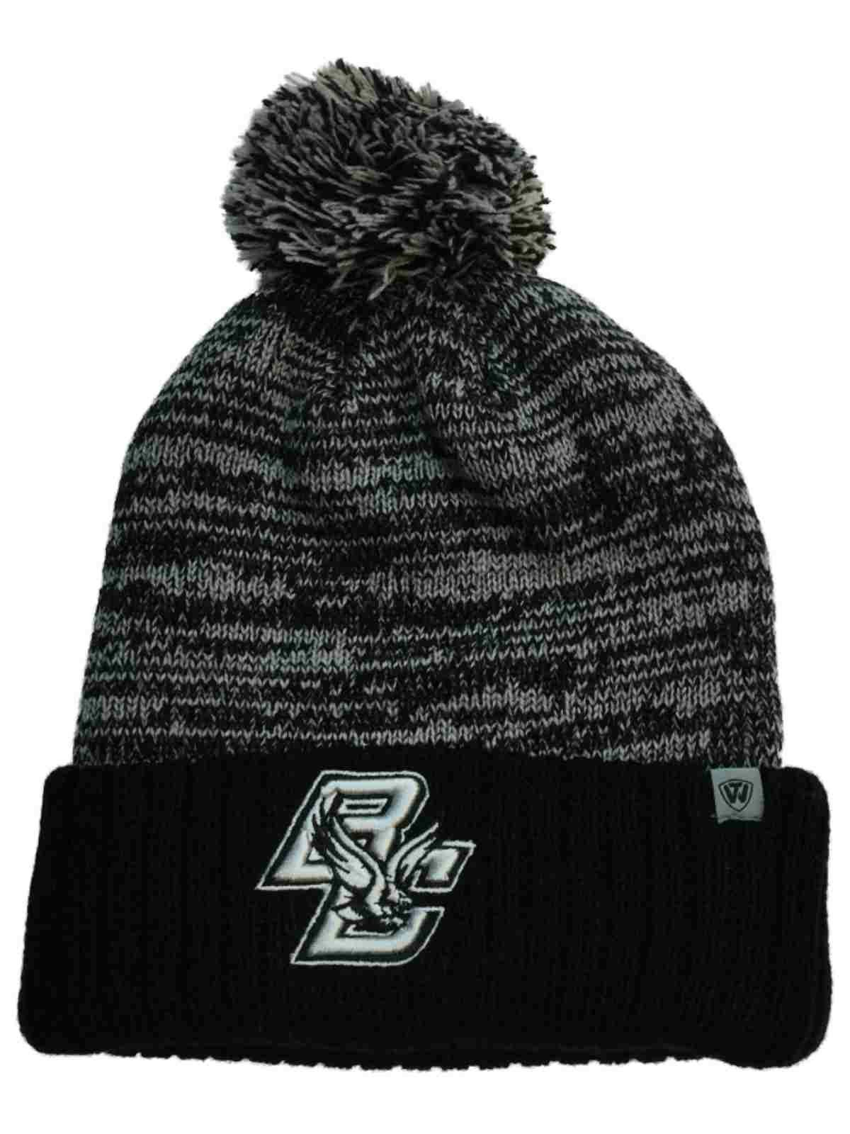 finest selection cb405 ca3c9 spain boston college eagles tow black gray dense knit cuffed beanie hat cap  w poof 198d5