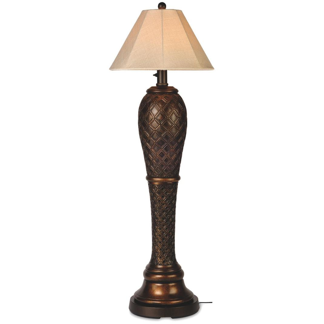 This Tropical Outdoor Floor Lamp In Bronze Features An All Weather Resin  Body.