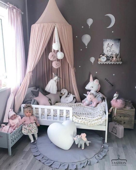 20+ Baby Playroom Interior with Solid Color Cotton Bed Canopy Inspiration #toddlerrooms
