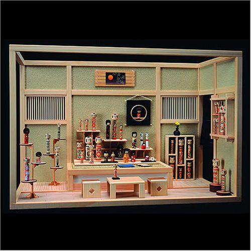 Dollhouse Miniature Roombox Sitting Room: Nicely Done Dollhouse Miniature Kokeshi Doll Display Room