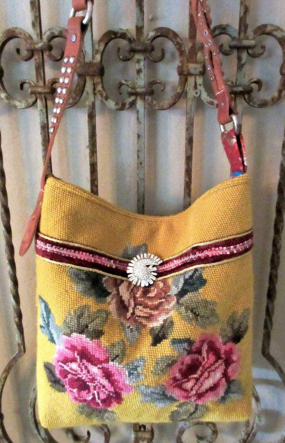 Vintage Roses Needlepoint, Serape, Velvet Chenille Handbag