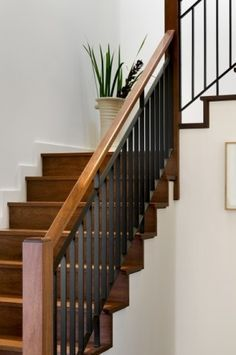 Staircase Railings Wood And Metal Stair Railing Balustrade | Wood And Metal Handrail | Farmhouse | Contemporary | Indoor | Industrial | Modern