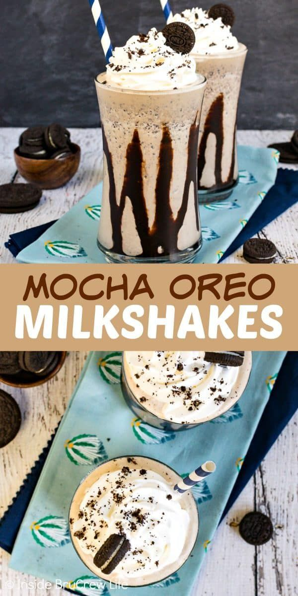 Mocha Oreo Milkshakes - cookies and coffee turn this easy milkshake into a fancy gourmet drink. Great copycat of those coffee shop drinks. Try this easy recipe on a hot summer day!