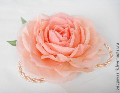 Мона Лиза - роза брошь,розовая роза,цветок брошь,шелковый цветок,роза из шелка