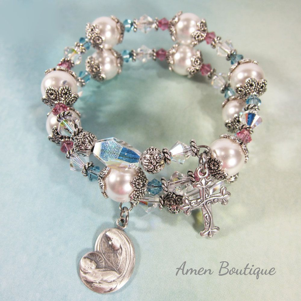3b5845eec5 Swarovski Crystal Faux Pearls Rosary Wrap Bracelet With Sterling Silver  Madonna With Child and a Sterling Silver Budded Cross BR0231 by  AmenBoutique on Etsy