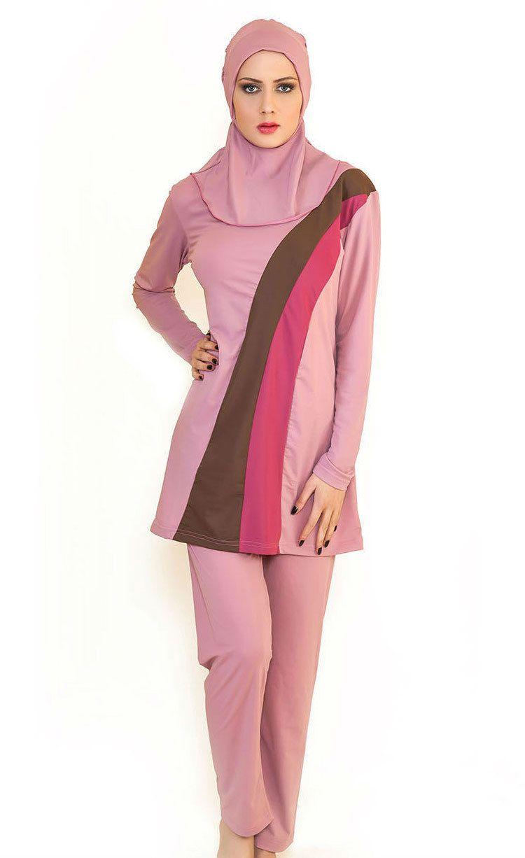 Islamic Full Muslim Women Girl Swimwear Black-Red L