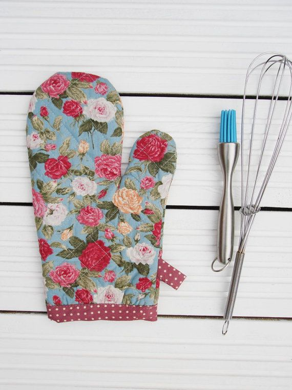 Floral Oven Glove Kitchen Oven Mitt  Duck Egg & Roses Retro Oven Beauteous Kitchen Mittens Inspiration Design