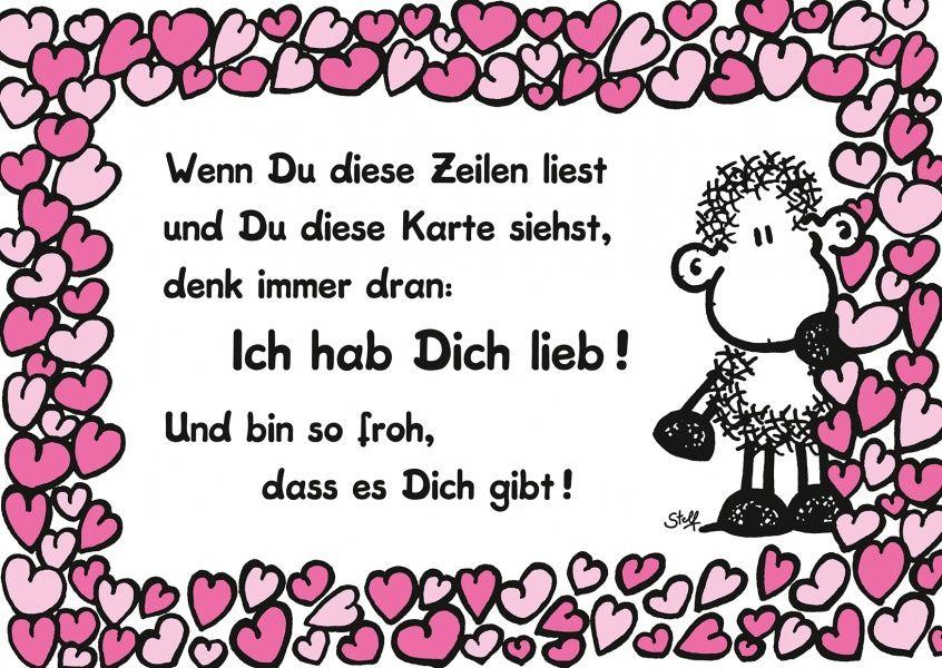 Ich hab Dich lieb! | Sheepworld | Sweet quotes, Friendship ...