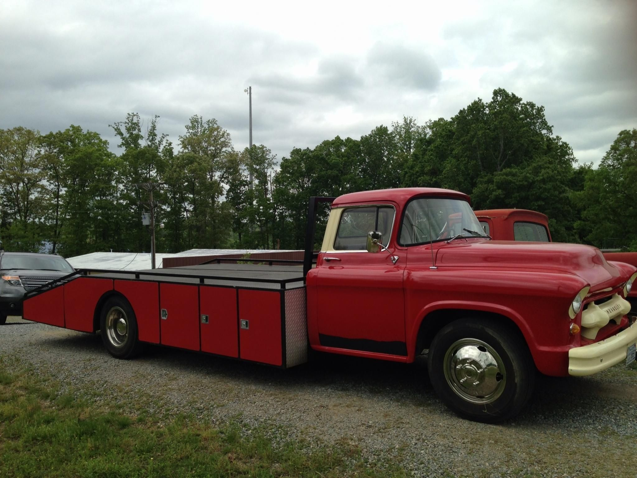 1955 chevy fire truck converted to hauler