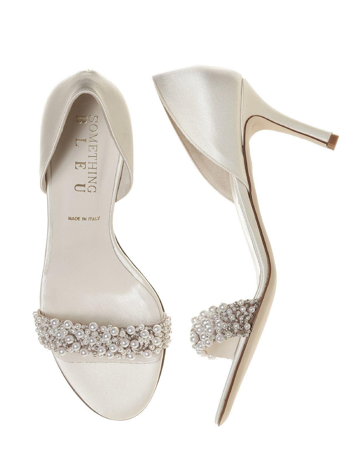 cappy pearl dorsay ivory satin bridal shoes