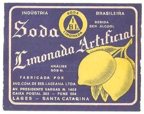 rótulo antigo da soda limonada ibl (anos 50)