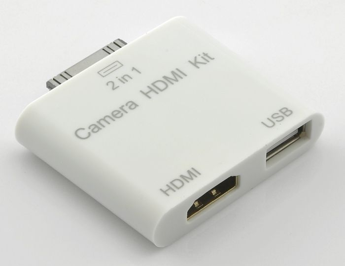 2-in-1 HDMI and Camera Connection Kit for iPad 2 =====> Mirror everything from your iPad 2 onto your television!  Instantly transfer pictures from your digital camera to your iPad 2!  HD Video output from your  Easy to use, no software installation or setup needed  Unique 2-in-1 design, hard to find anywhere else!