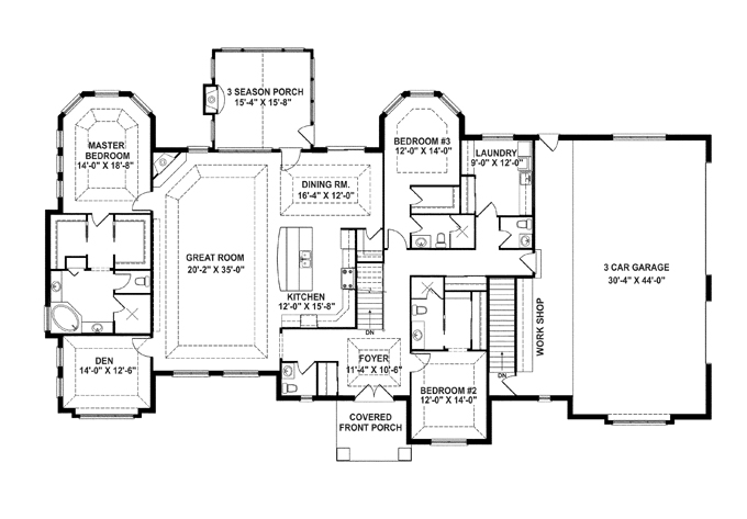 one story farmhouse with open floor plan
