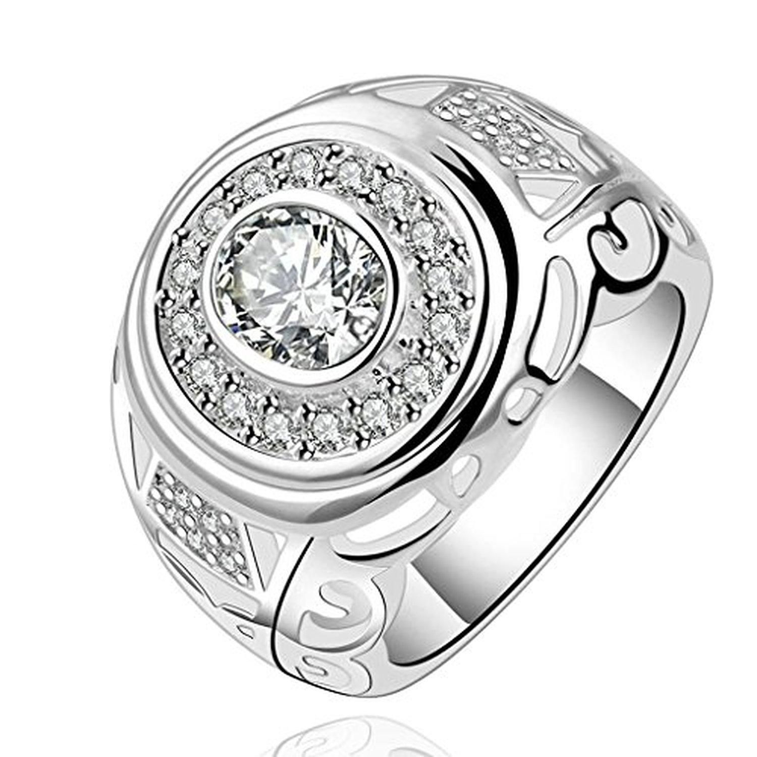 Alimab Silver-Plated Womens Wedding Bands Round Shape White Silver - Brought to you by Avarsha.com
