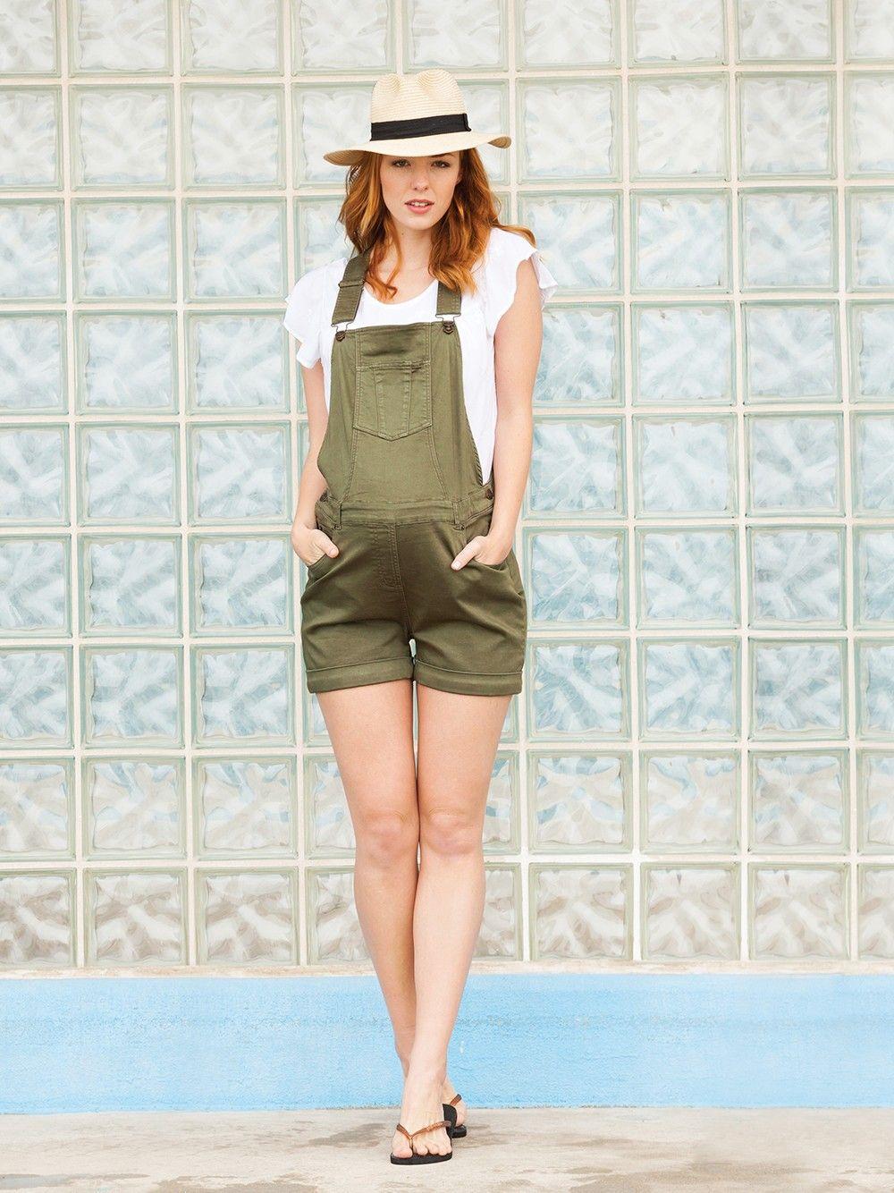 d0d89358166da Khaki Maternity Short Overalls | What to wear - clients | Maternity ...