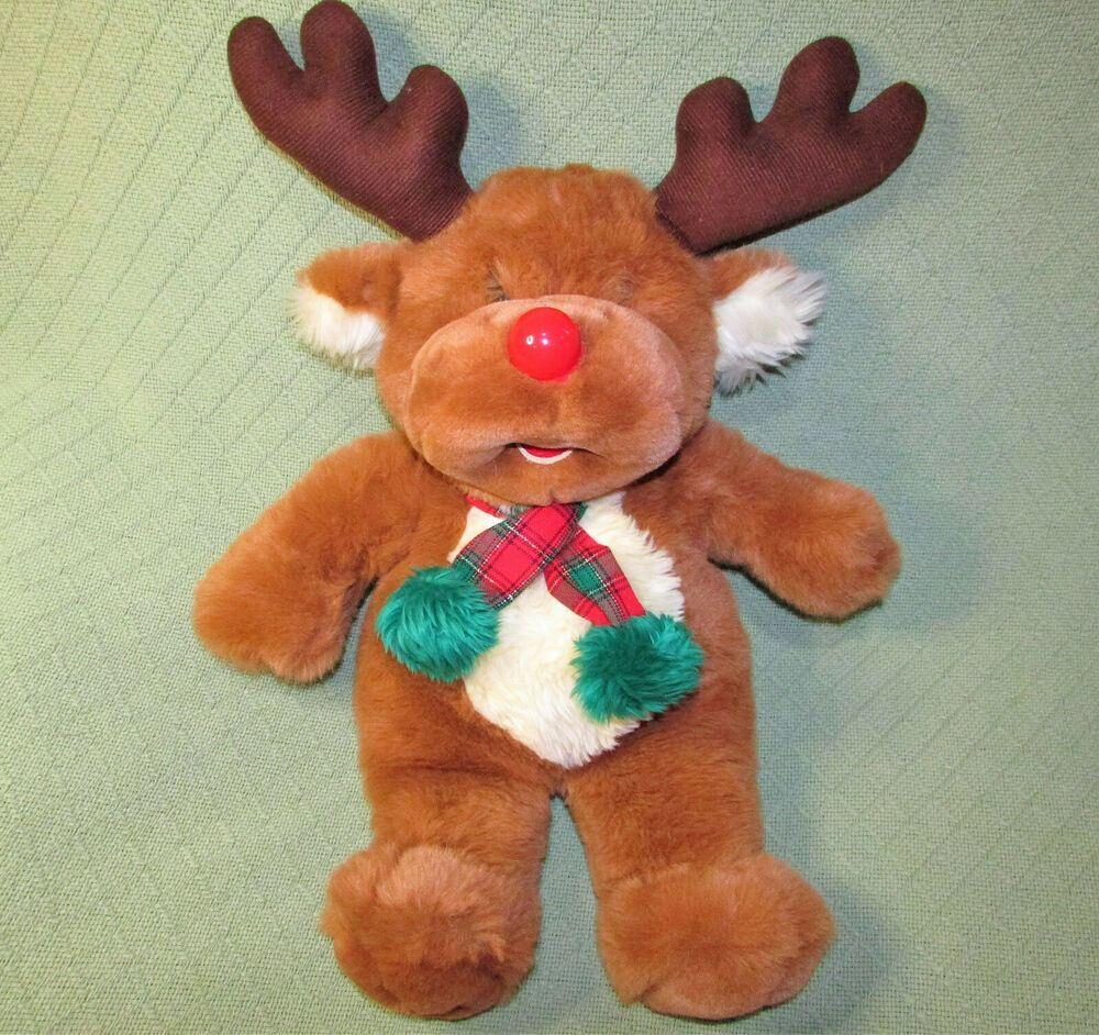 "24"" VINTAGE WALMART RED NOSED REINDEER STUFFED ANIMAL RED"