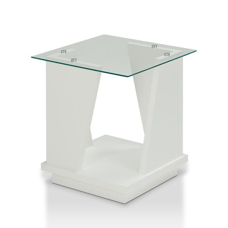 Rubina Glass Top Floor Shelf End Table Glass Top End Tables