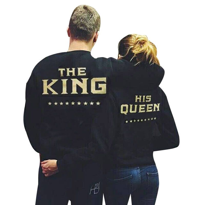 0d3d3bc825 King & Queen Couple Crewneck Sweatshirt Set Super Couple Sweater Tee Gift…