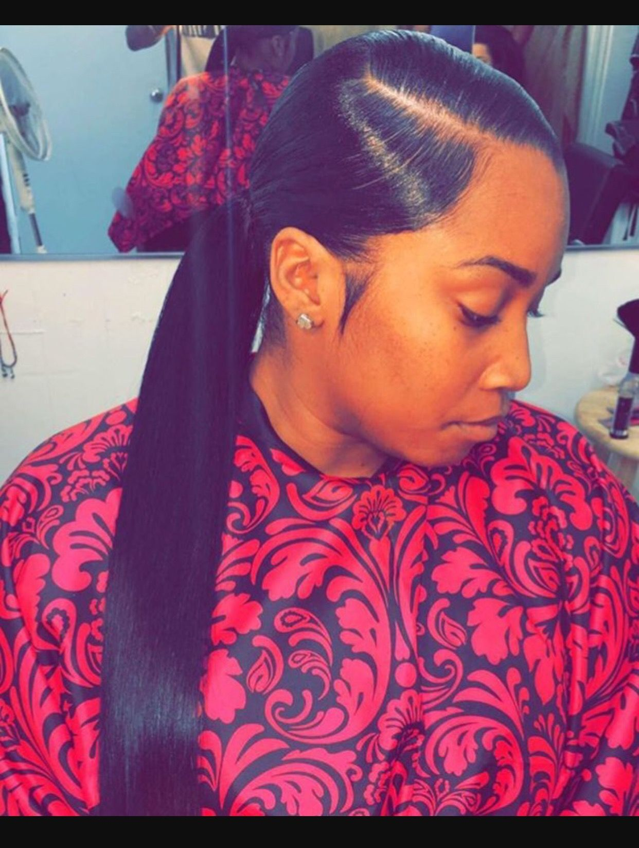 Side Part Low Ponytail Sleek Ponytail Hair Styles Slick Ponytail