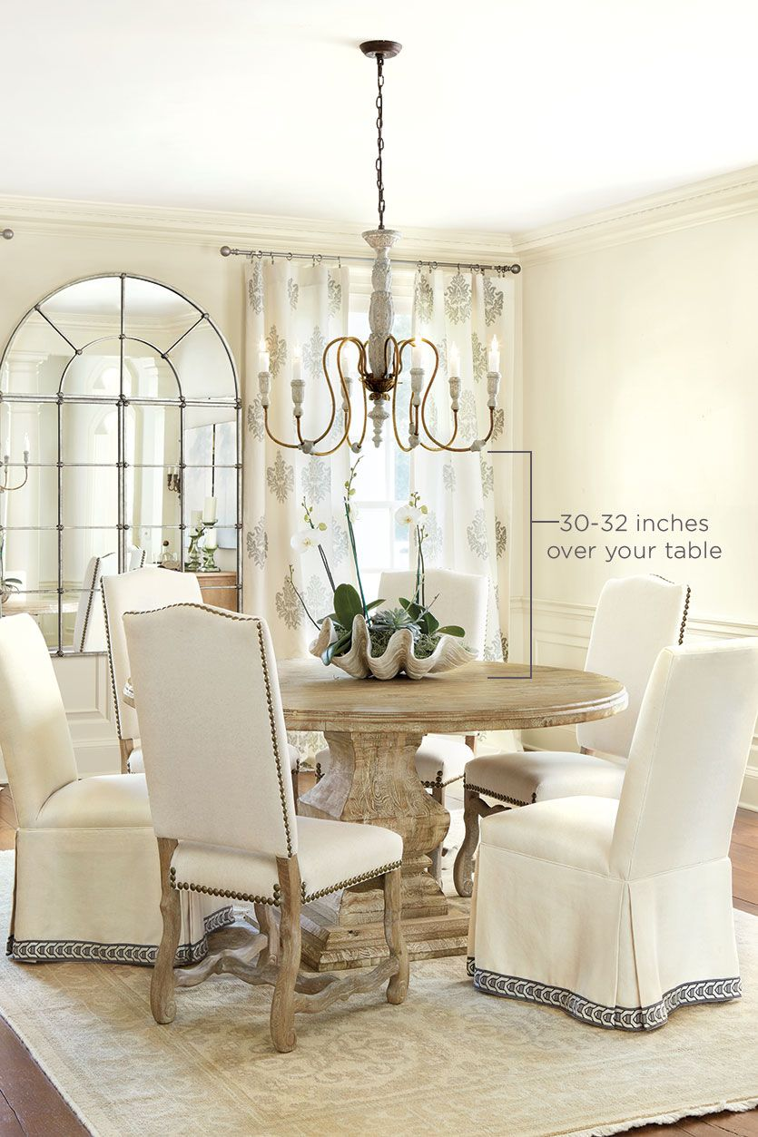 How to select the right size chandelier chandeliers room and lights how high to hang your chandelier over your table aloadofball Image collections