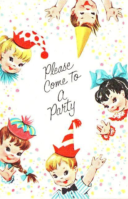 Digital Images Vintage Childrens Birthday Party Invitations