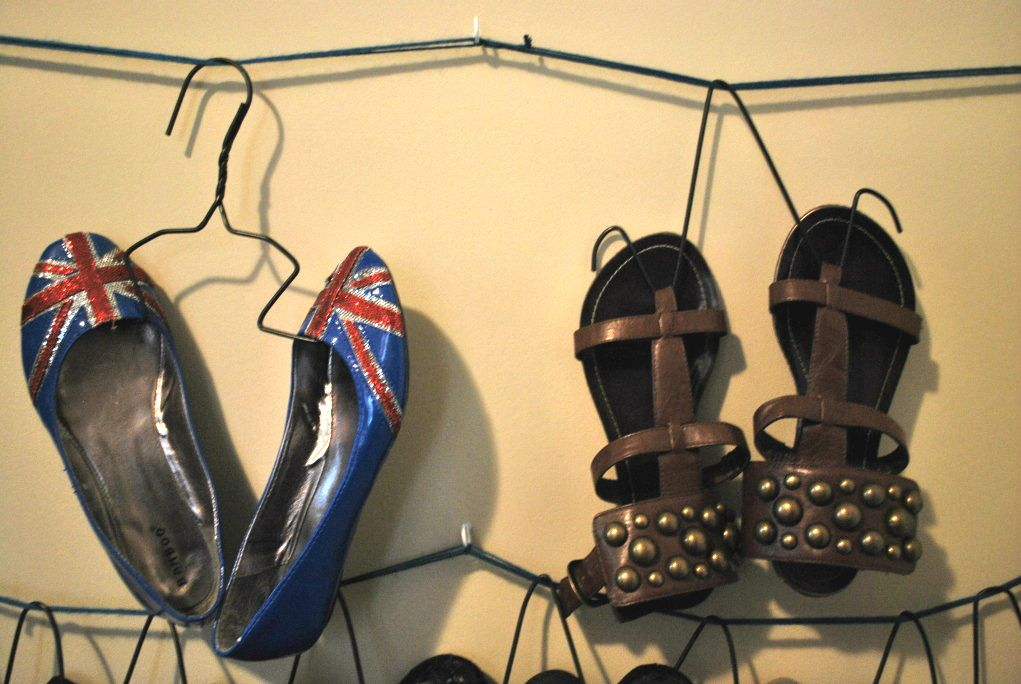easy shoe hangers made from wire hangers!