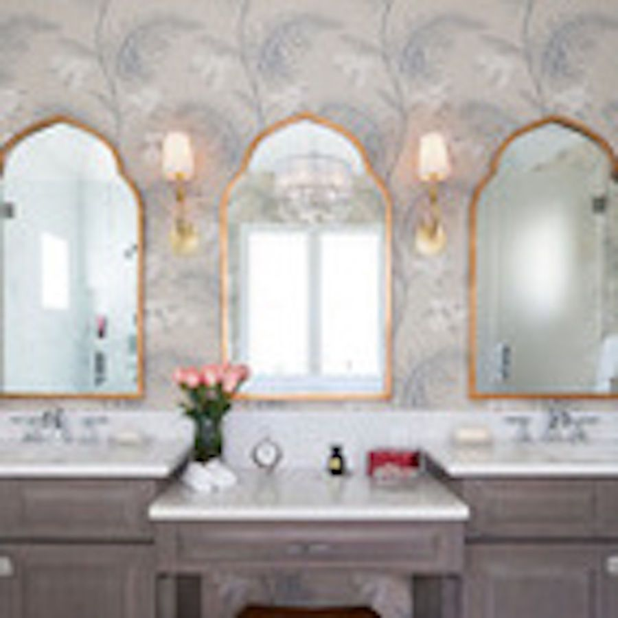 Gold arched moroccan wall mirror bathroom arch vanity horchow ...