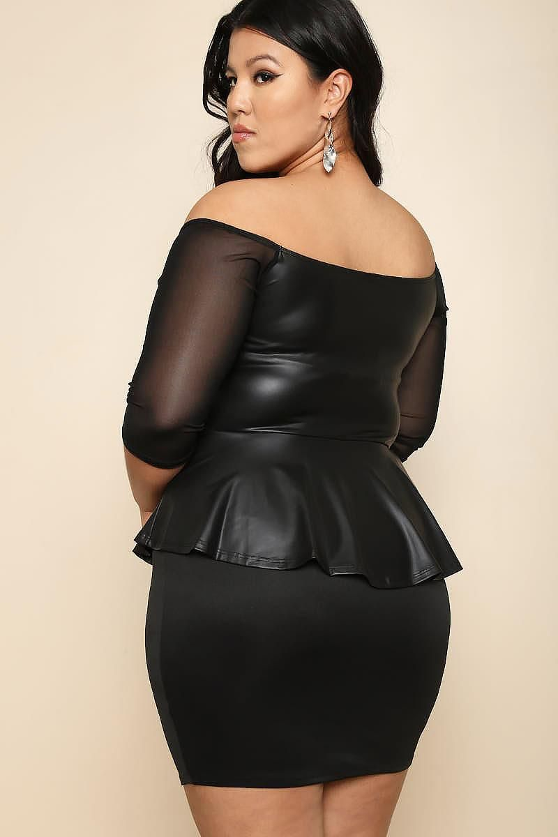 941c1230bf9 Make them notice you with this sexy plus size peplum dress. Features an off-