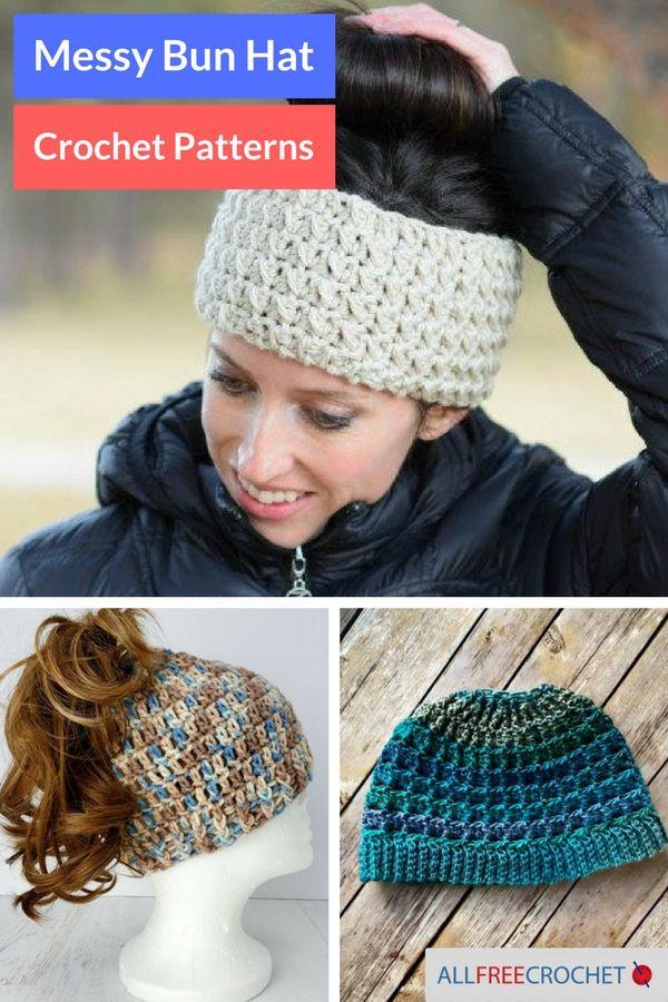 32 Messy Bun Hat Patterns | Crochet & Knitting | Pinterest | Häkeln ...