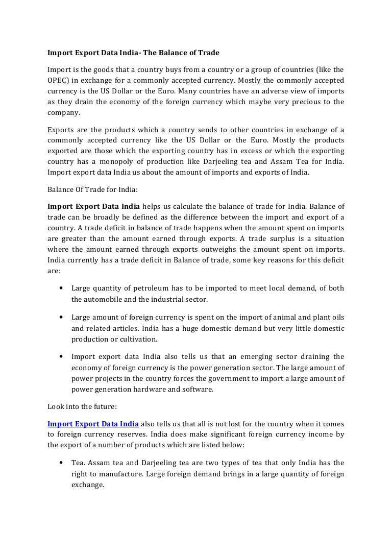 Import Export Data India helps us calculate the balance of trade for