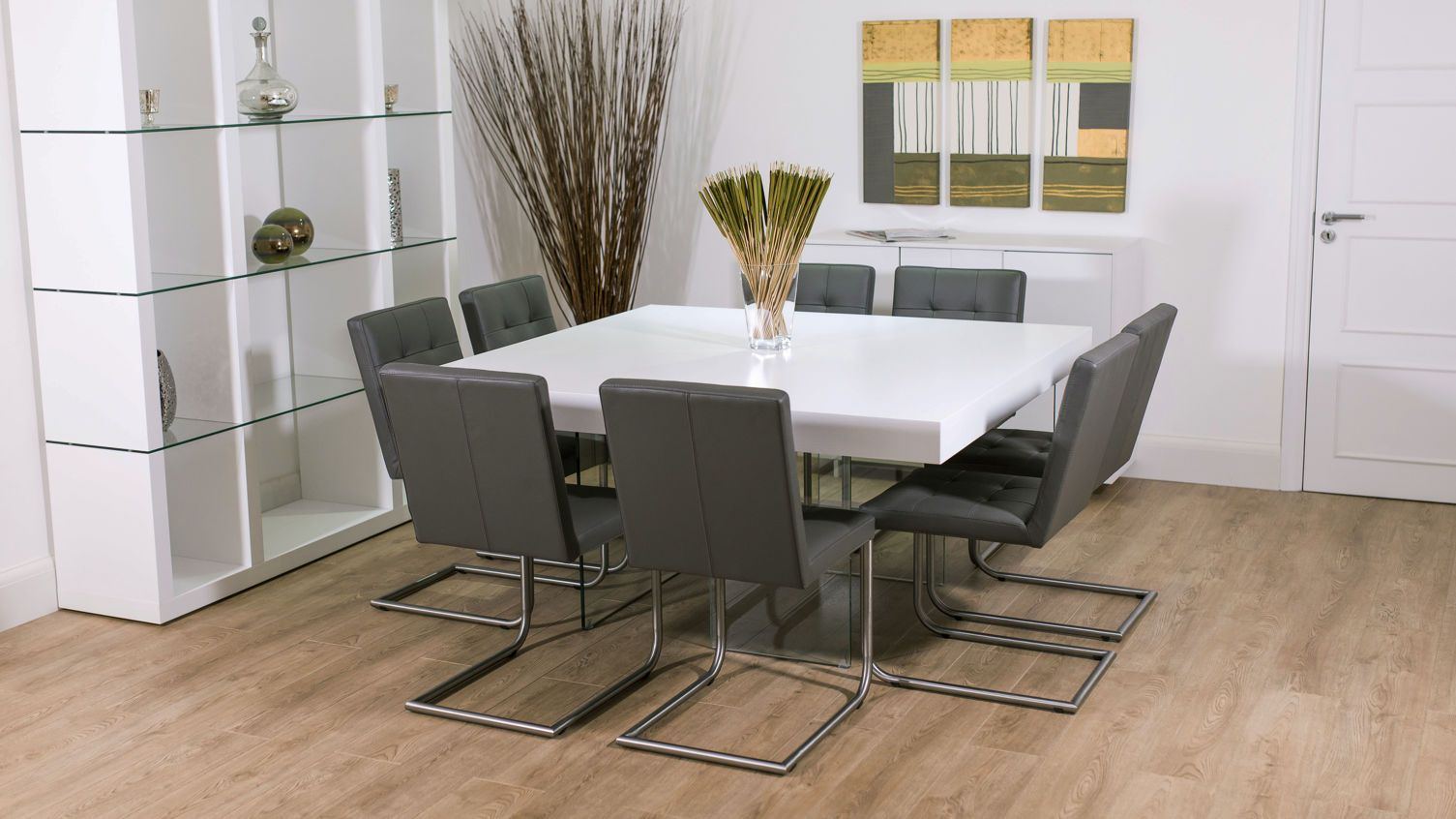 8 Seater Square Gl Dining Table