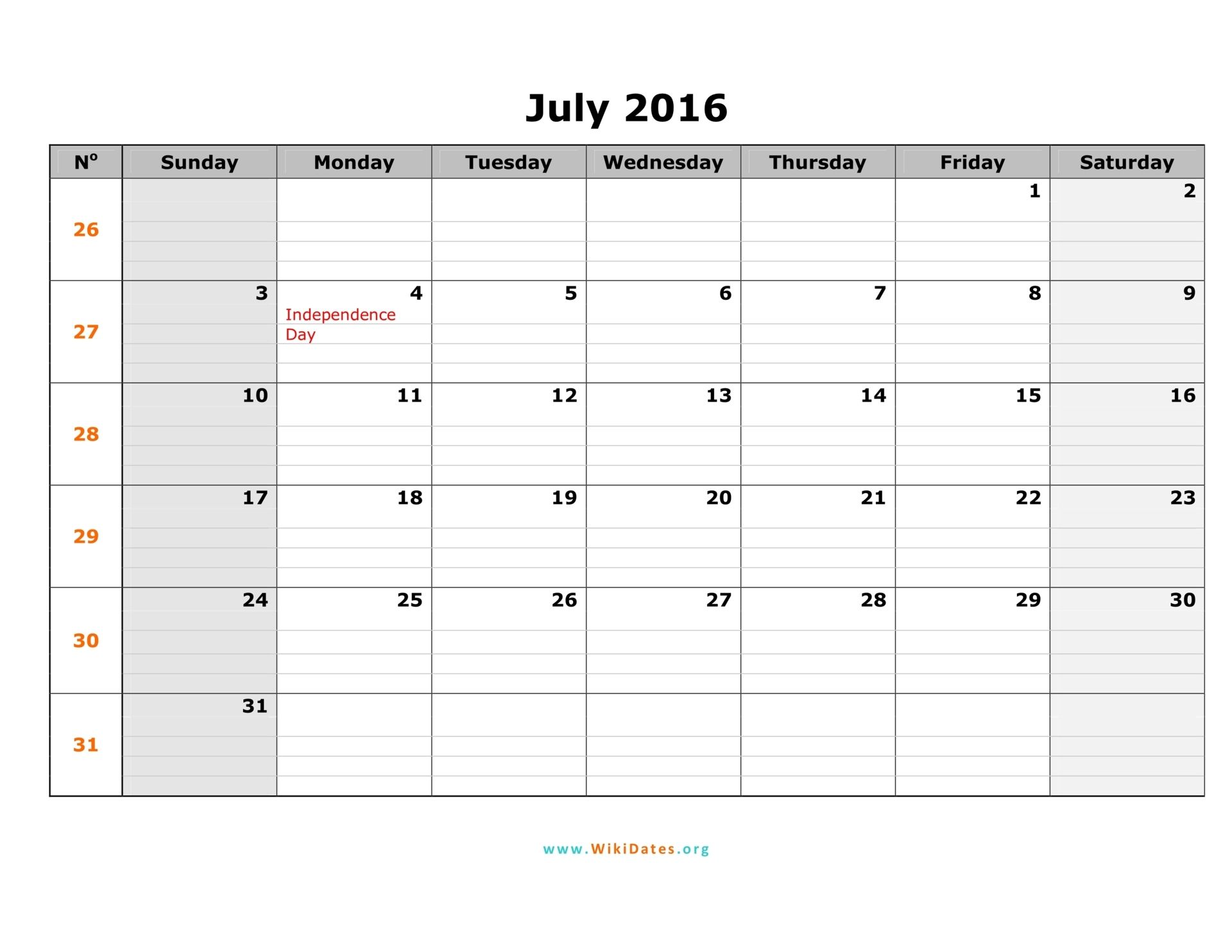 July 2016 – July 2016 Monthly Calendar