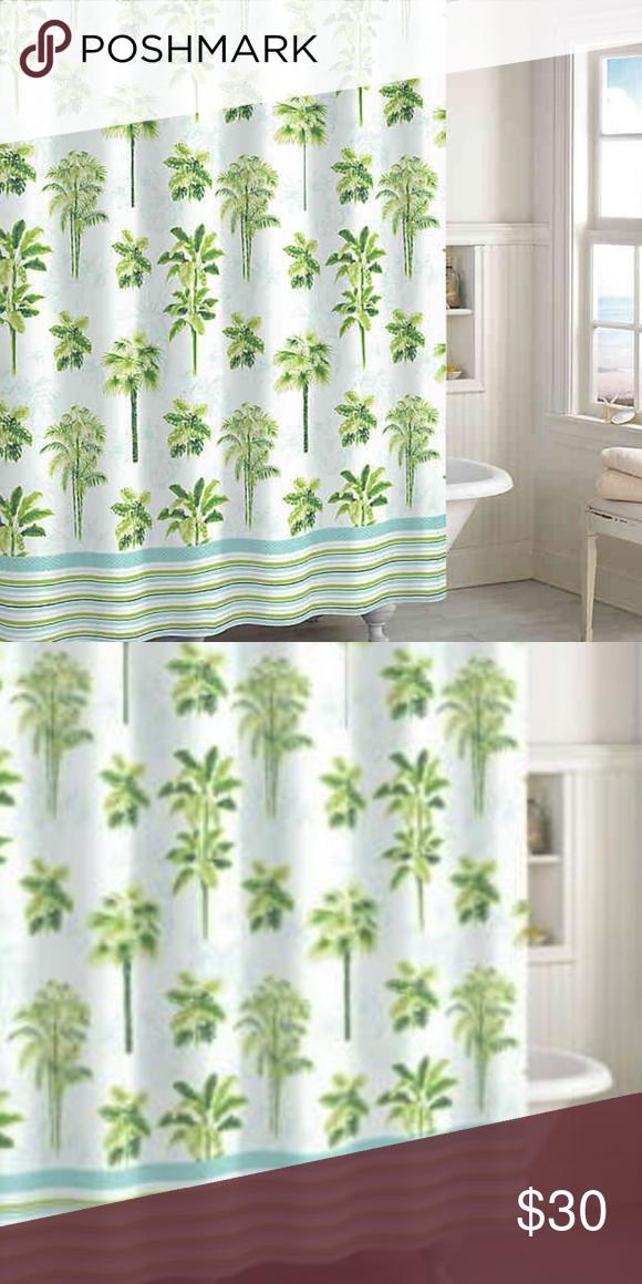 Destinations Tropical Palm Shower Curtain Nwt In 2020 Curtain
