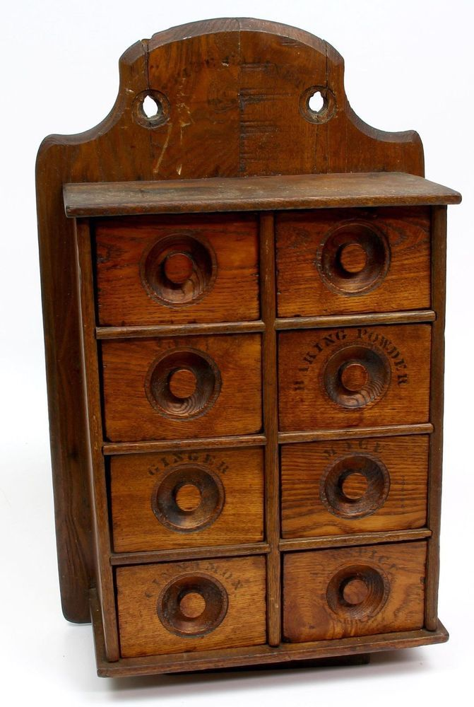 Antique Primitive 8 DRAWER STENCILED WOOD OAK APOTHECARY STYLE SPICE CABINET