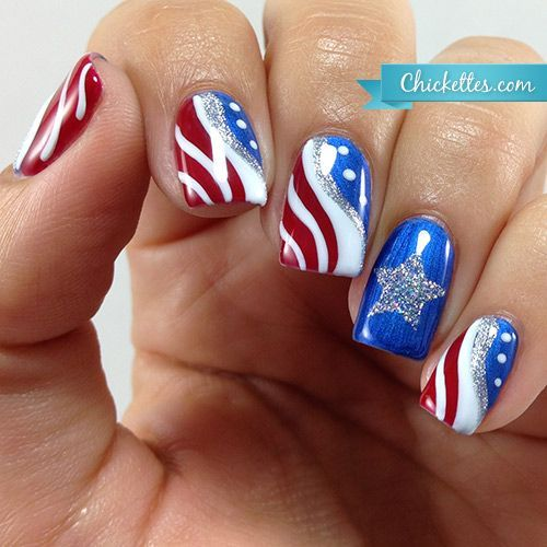 Patriotic flag nail art for the 4th of july by chickettes i was inspired to create a patriotic nail art design for the fourth of july this design was mostly done freehand and i love how it turned out prinsesfo Image collections