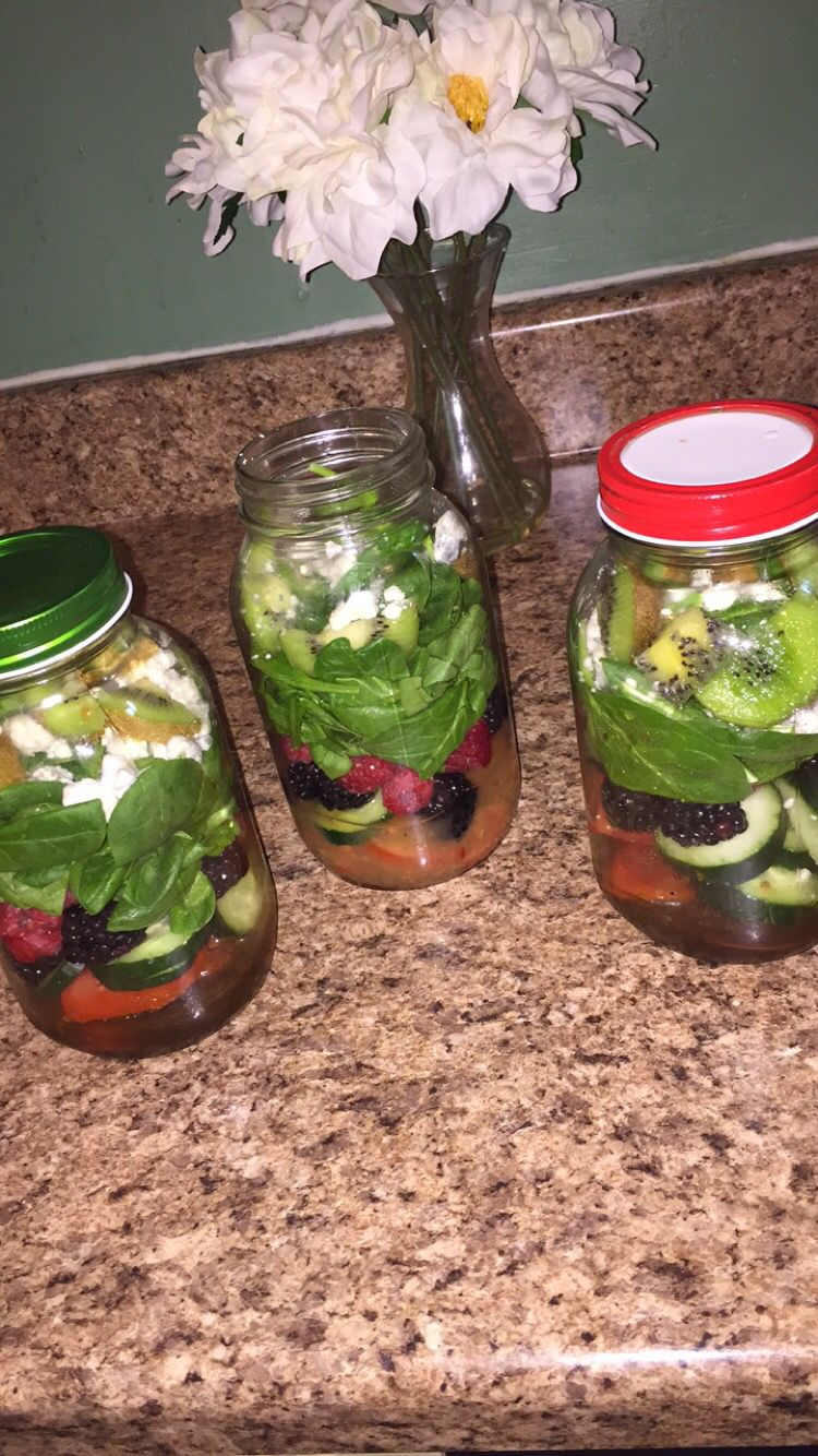 Salad in a mason jar to go! bam :)