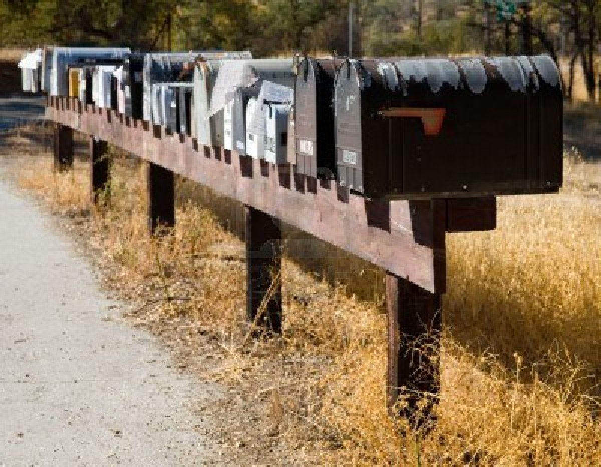 Long row of rural mailboxes. Love this! Rural mailbox