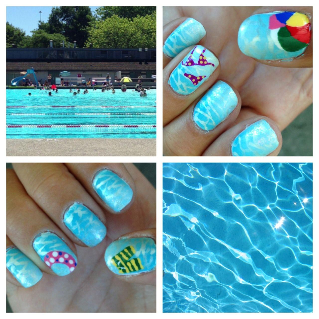 Pool Water With Beach Ball pool nails, blue ombre water nail art. bikini, beach-ball, shorts