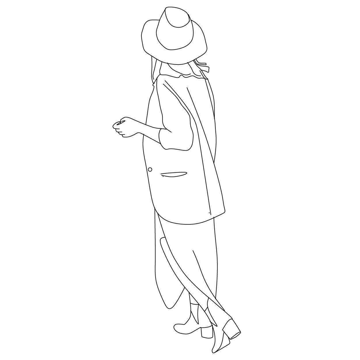 Woman Walking Away Drawing People Line Art Drawings Easy People Drawings