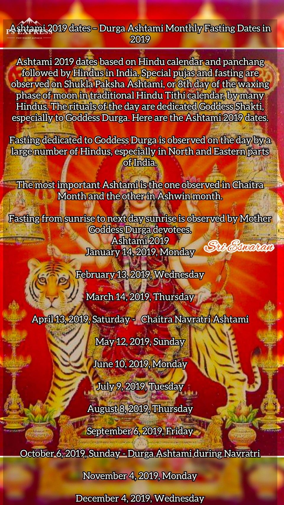 Ashtami 2019 dates – Durga Ashtami Monthly Fasting Dates in 2019