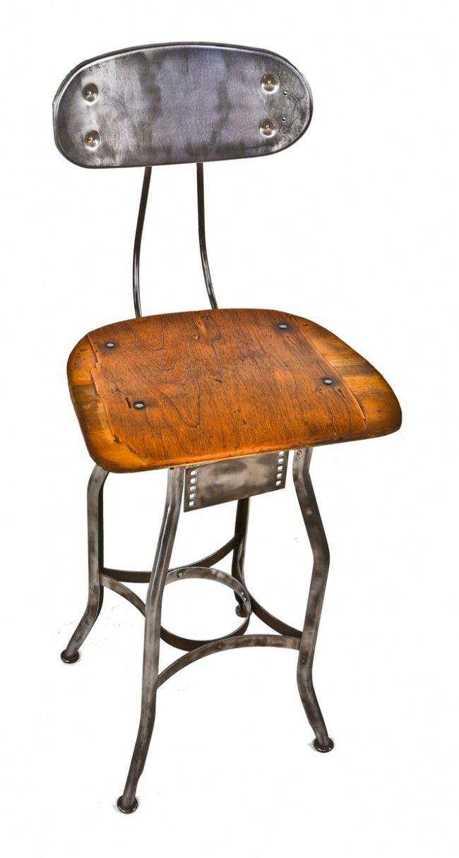 1930 S American Antique Uhl Art Steel Stationary Four Legged Factory Stool With Oversized Saddle Seat 375