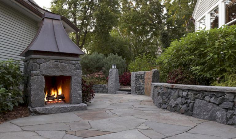 24 Gorgeous Small Outdoor Fireplace Designs For Your Inspiration