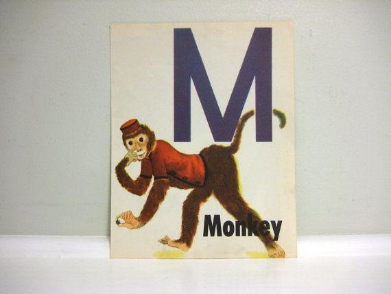Vintage Letter M Childrens Book Illustration, Circus Monkey  1940s Litho