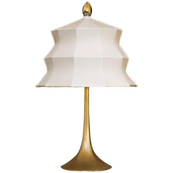 Pagoda Table Lamp Brass Base Ivory Silk Satin Shade Handmade Tuscany 2 404 Liked On Polyvore Featuring With Images Brass Table Lamps Table Lamp Table Lamp Lighting