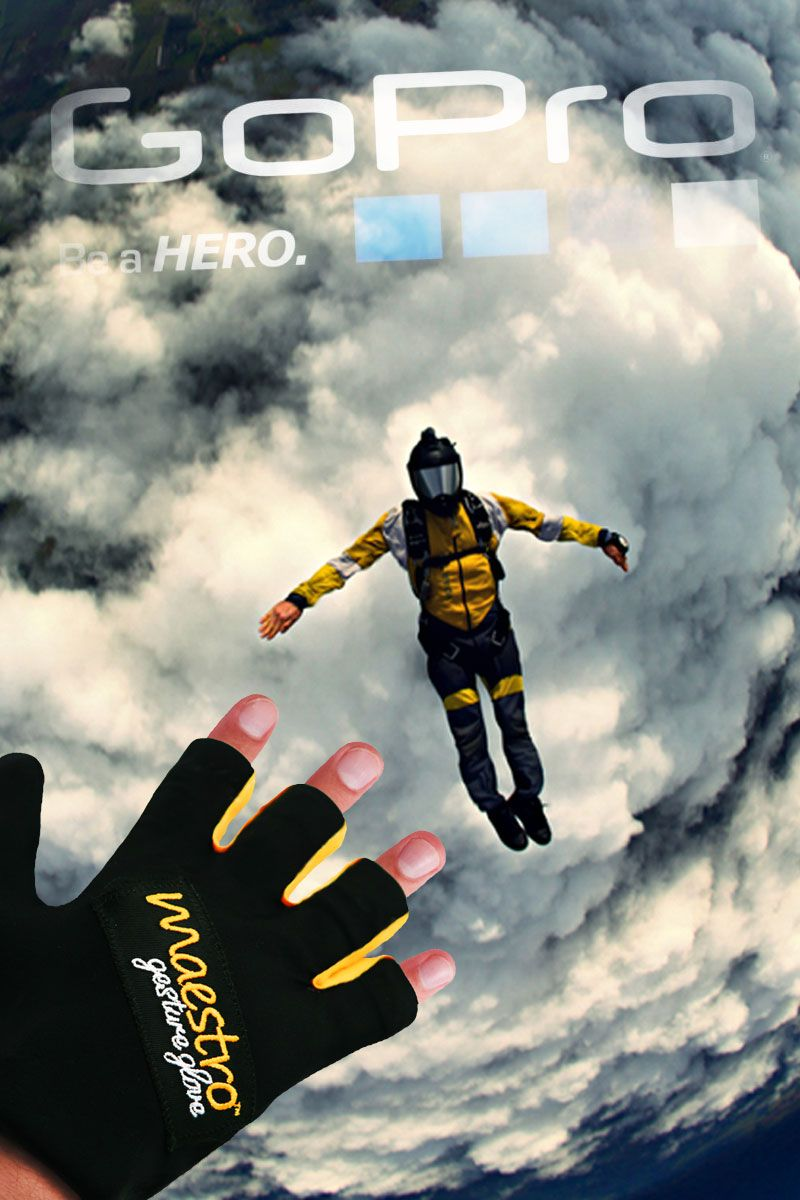 GOPRO APP  Weekend warrior? No matter whether you jump out of planes, ride bikes off cliffs or take your car where cars shouldn't go, the Maestro's Gesture Glove enables you to capture all those wild and adventurous moments. Mount your GoPro and use Maestro's hands free gestures to record videos and take photos.