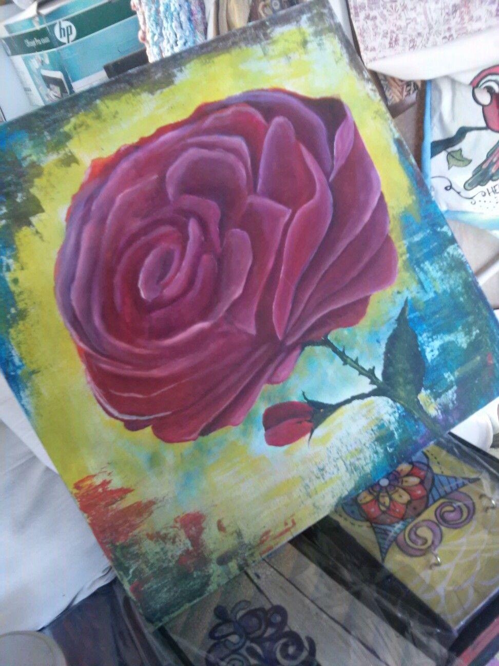 Cuadro rosa roja acrilico 50·50