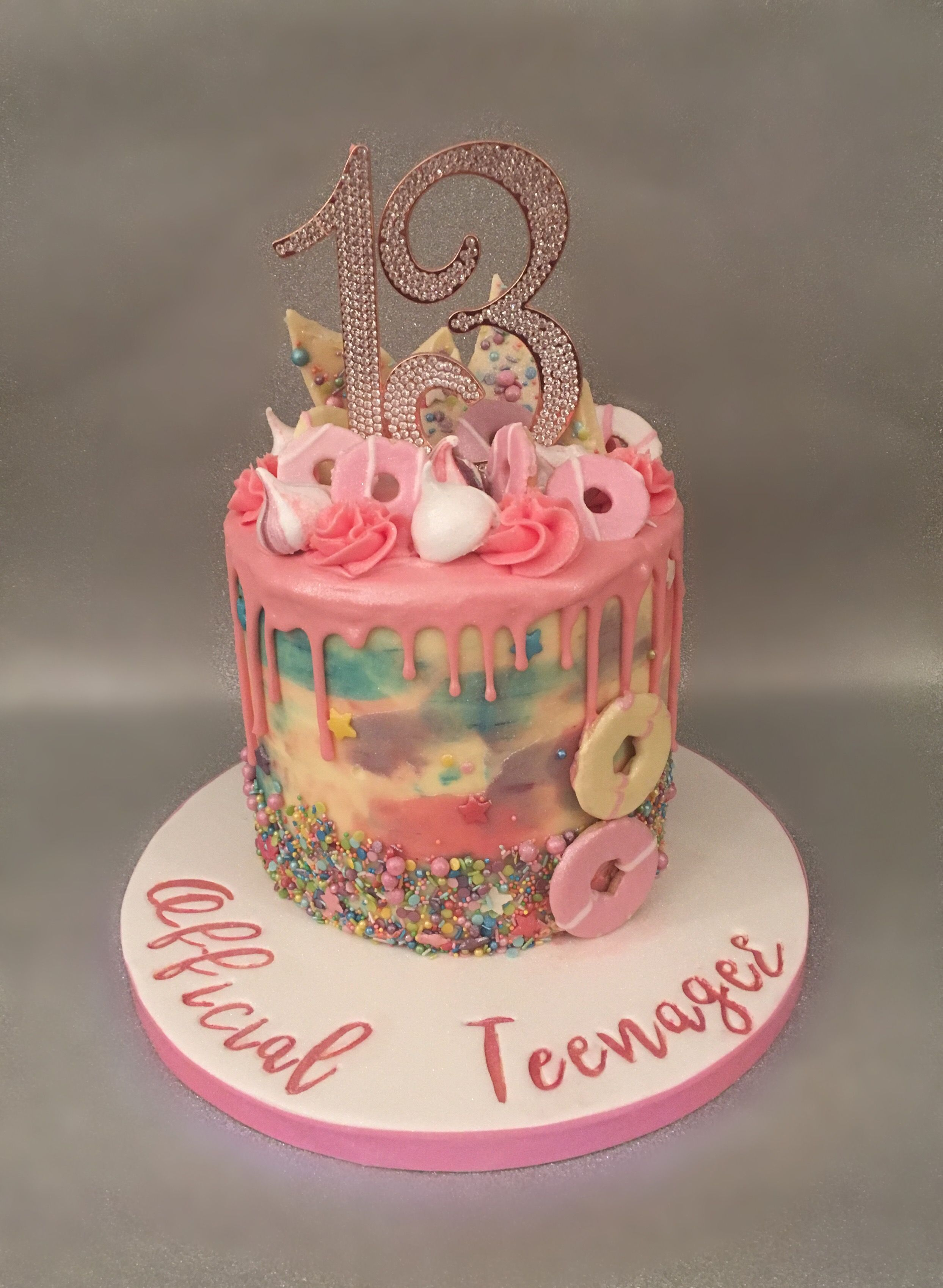 Official Teenager A Pink Chocolate Buttercream Drip Cake With