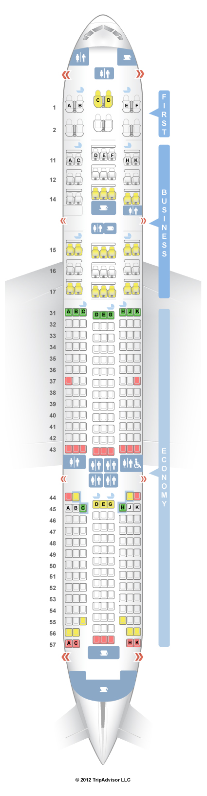 SeatGuru Seat Map Singapore Airlines Boeing 777-200 Vers. 1 ...