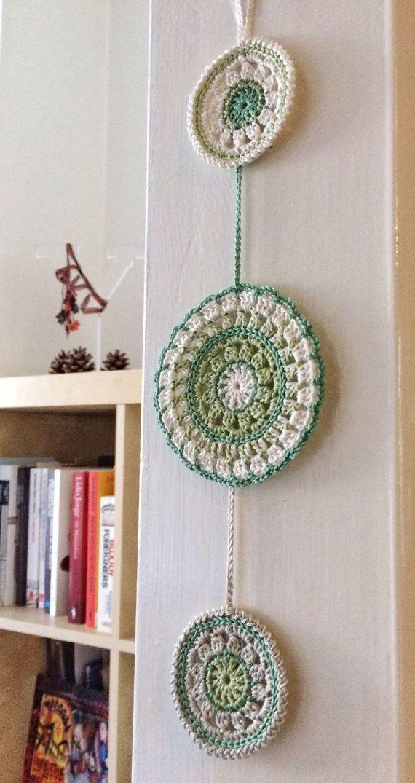 Colgante de pared de ganchillo de mandala de kiwi y huerta - Mandalas para pared ...