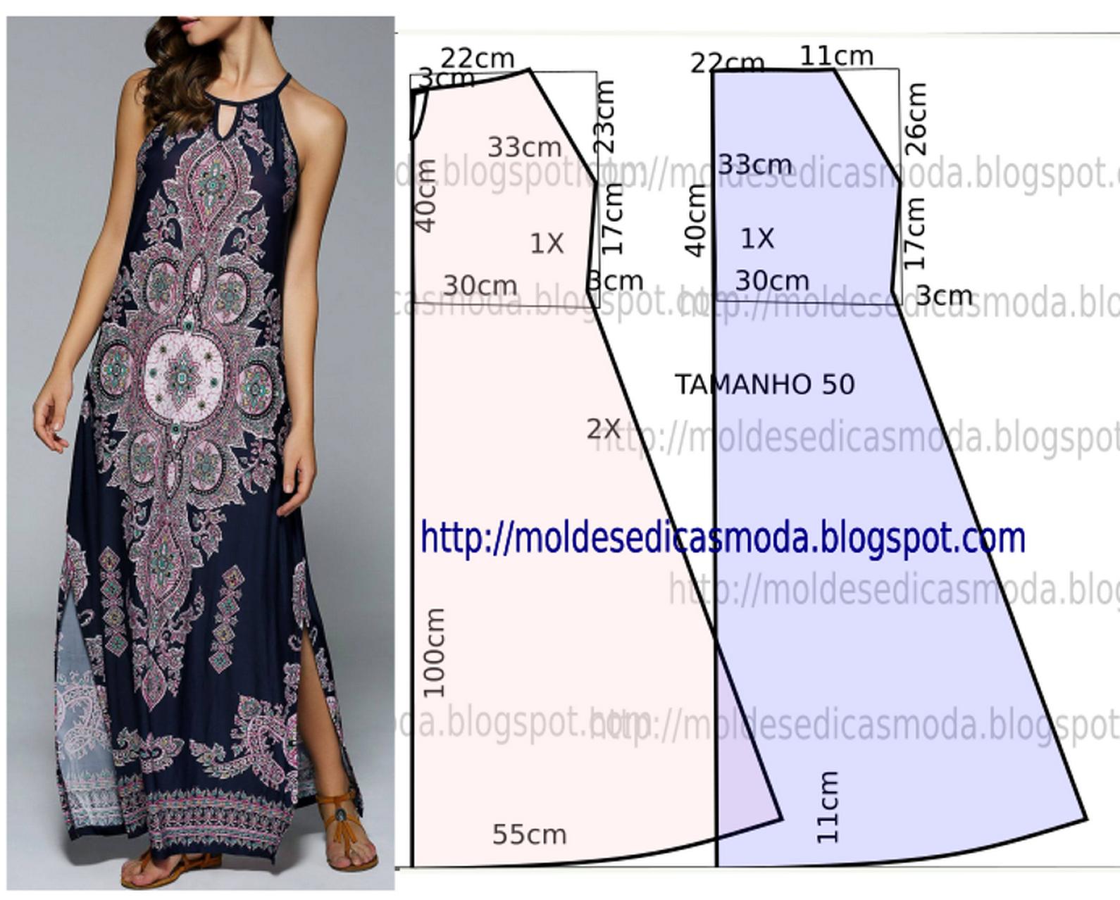 f172ab9cc3dbed Vestido azul royal estampado - Moldes Moda por Medida